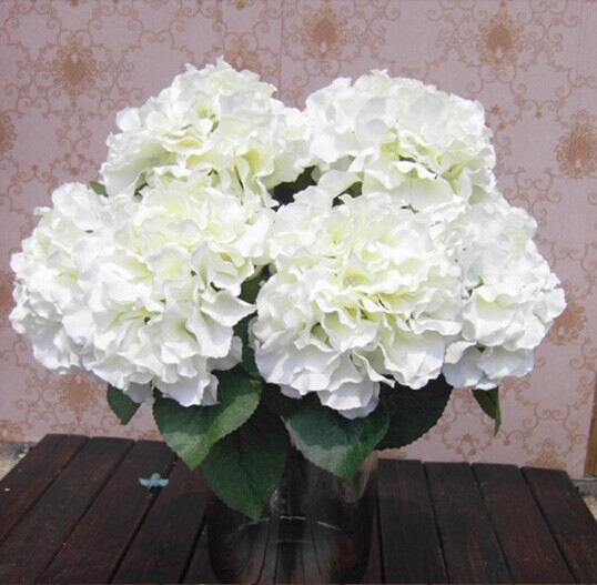 Phfu Home Decoration Flowers Artificial Hydrangea Flower 5 Heads Bouquet Decor Diy Creamy White In Dried From Garden On