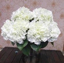 Phfu decoración del hogar flores de hortensia flor artificial 5 cabezas grandes bouquet decoración diy blanco cremoso