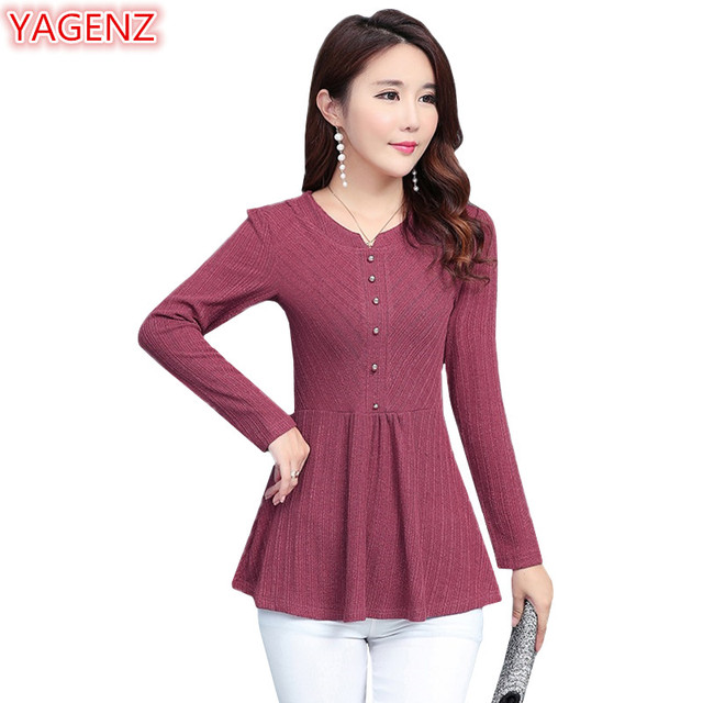 543a3cf281d YAGENZ Spring Autumn T-shirt Womens Plus size Fashion Slim Bottoming Shirt  Long sleeve Flounce T-shirt Tops O-neck Stitching 469