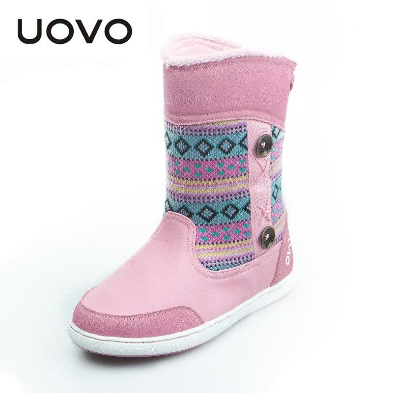 Uovo новые ботинки для девочек Вязание шерсть детская Сапоги и ботинки для девочек до середины икры дети Сапоги и ботинки для девочек оленей о...