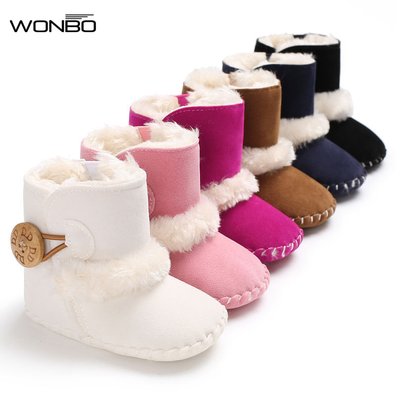 Winter Baby Boots Girls Boys First Walkers Infant Toddler Newborn Super Warm Snowfield Wooden Buttons Booty Rubber Soled Shoes