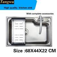 Tangwu Alto grado único gran ranura superficie Lisa de calidad alimentaria 304 conjunto de dibujo de acero inoxidable fregadero de la cocina 68X44X22 CM