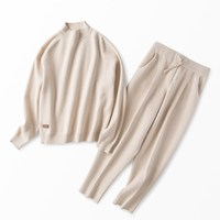 2018 Winter New Cotton Cashmere Wool Suit Thick Knit Women Fashion Sweatshirts Tracksuit Solid Casual 2 PCs Knitted Sweater Suit