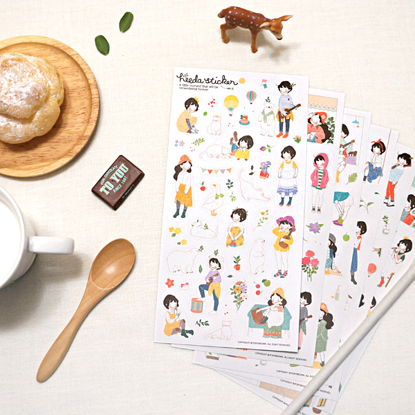 6 Pcs Heeda Second Quarter Of The Forest Department Sweet Girl Korean Girl Diary Pvc Decorative Stickers Memo Pads