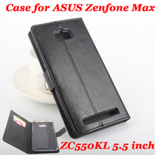 Высокое качество кожаный чехол для Asus Zenfone Max ZC550KL 5.5 дюймов флип с карт памяти для ZC550KL кожаный чехол телефона случаях