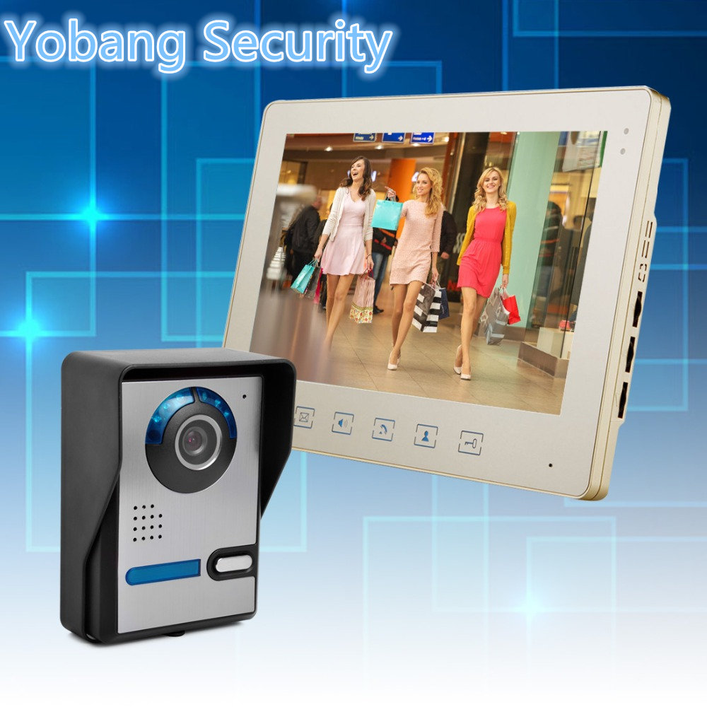 Yobang Security freeship  10 Inch Video Door Phone Doorbell Video Intercom Kit 1-camera 1-monitor Night Vision  door bell phone yobang security freeship 7 video intercom for villa 2 monitor doorbell camera with 5pcs rfid cards hd doorbell camera in stock
