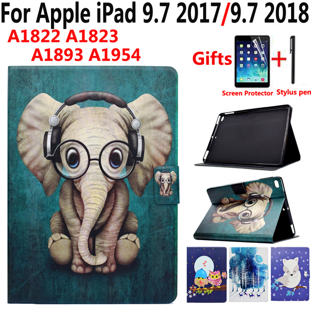 Online Shopping For Ipad New Animal Cartoon Case For Apple Ipad 9 7 2017 2018 5th 6th Generation A1822 A1823 A1893 Smart Cover With Screen Protector Film