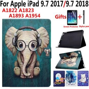 Viñetas de animales caso para iPad 9,7 2017 de Apple 2018 5th 6th generación A1822 A1823 A1893 aire 1 2 Air2 cubierta inteligente con pantalla de película de