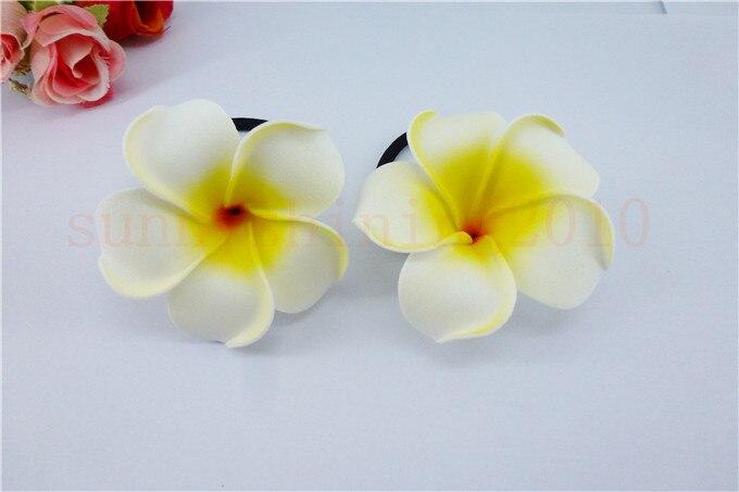 20 диаметр цветка украшение для волос ленты пены Гавайская Плюмерия эластичный с цветочным принтом Гавайский жасмин повязка на голову волос веревки - Цвет: white