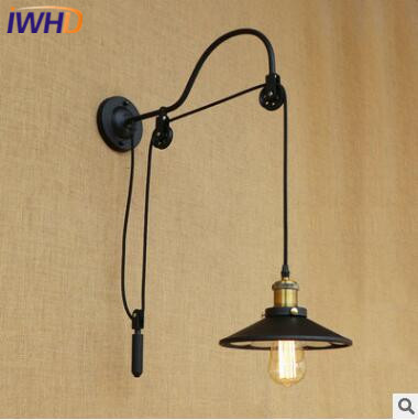 цена на IWHD Iron Pulley LED Wall Lamp Vintage Industrial Wall Light RH Retro Loft Bedside Sconce Fixtures For Home Lighting Luminaire