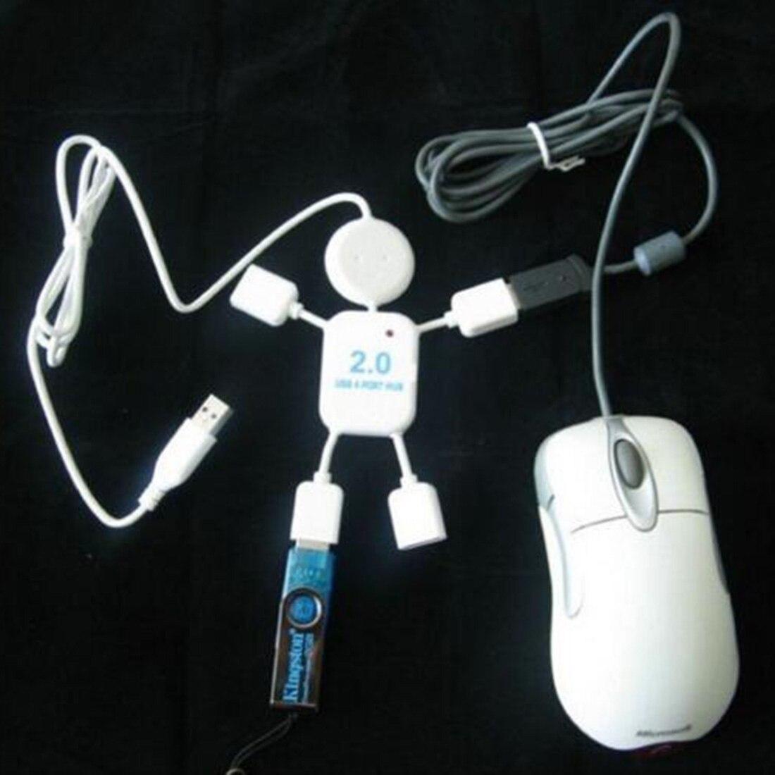 Mini Lovely White Human Doll Shape High Speed USB 4 ports Hub For PC Computer Laptop Port Splitter Аппаратный порт