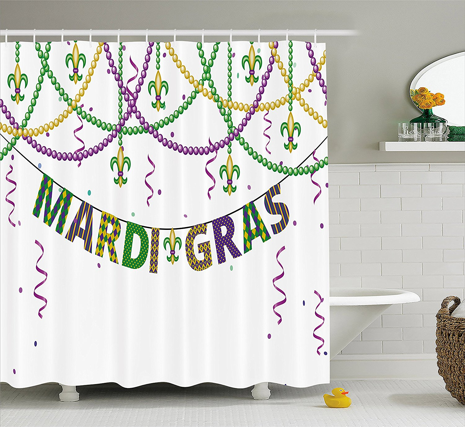 Mardi Gras Shower Curtain Festive Decorations With Fleur De Lis Icons Hanging From Colorful Beads Purple Green Yellow