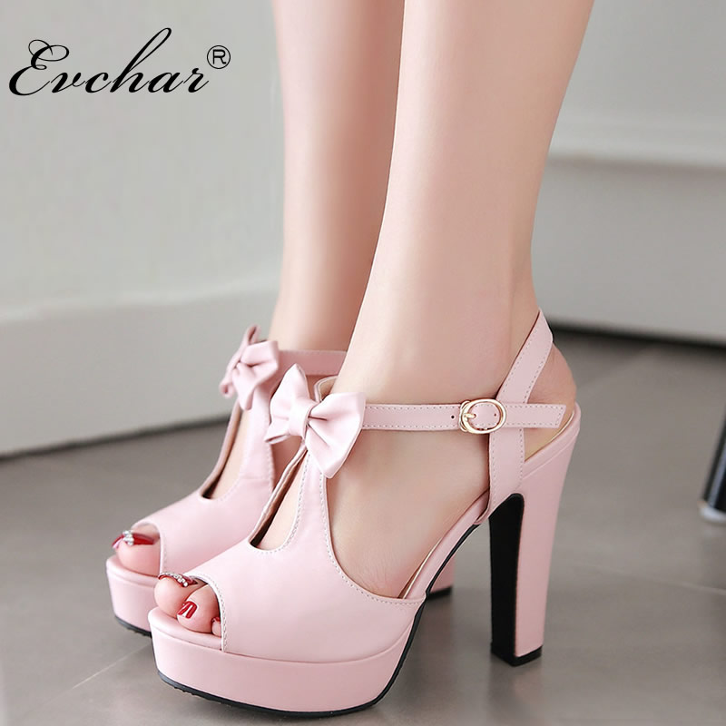 EVCHAR Butterfly-knot T-Strap Super High Heels Sandals Women Wedding Shoes Platform Elegant Dress Party Date Sandals size 31-43
