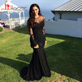 Black Illusion Long Sleeve Arabic Evening Dresses 2017 Jewel Necking Top Lace Appliques Gliter Muslilm Mermaid Long Prom Gowns