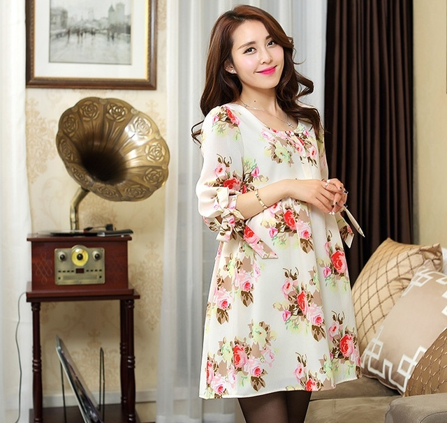 fde50dbd3b855 US $27.5 50% OFF|Women Floral Printed Dress 2018 Spring Summer Dresses for  Pregnant Women Cute Half Sleeve Maternity Elegant Party Vestidos-in Dresses  ...
