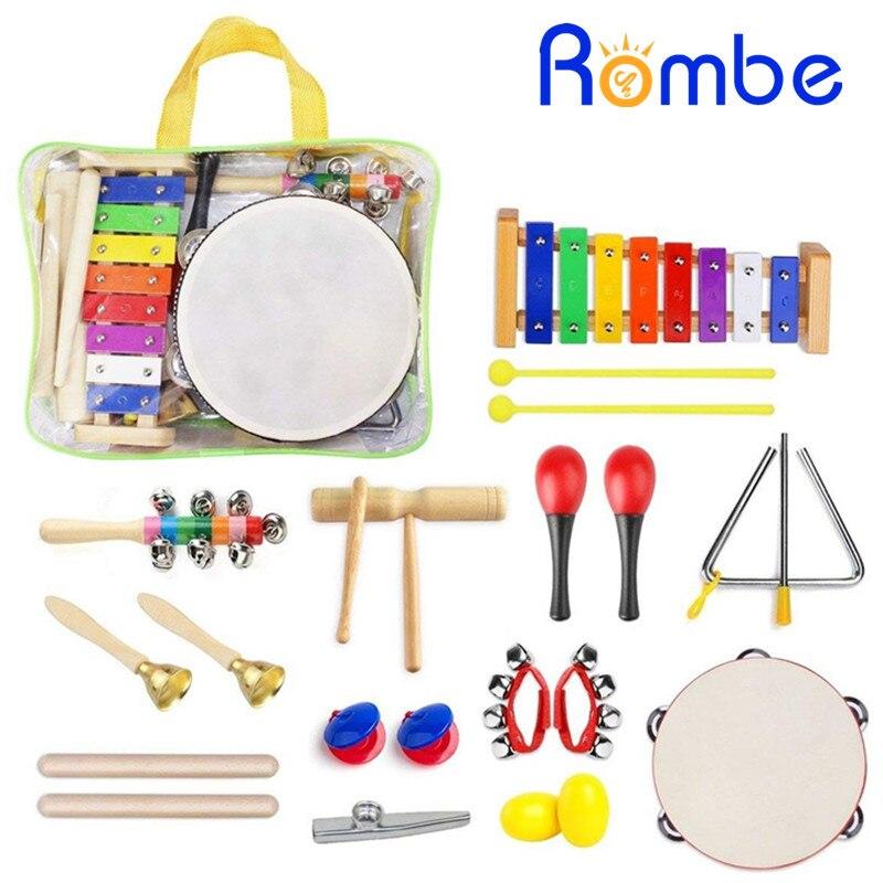 22 pièces Enfants instruments de musique Ensemble Rythme et L'éducation Musicale Jouets jeu de bandes Enfant En Bois Percussion Jouet Musical Instrument
