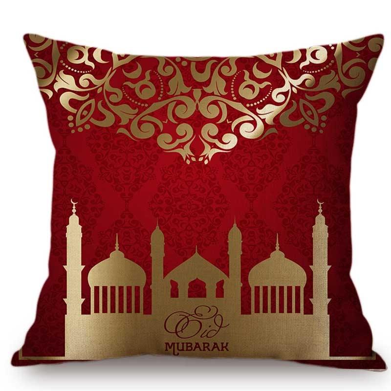 Red Middle East Islamic Muslim Religion Worship Eid Mubarak Ramadan Decoration Sofa Throw Pillow Case Cotton Linen Cushion Cover