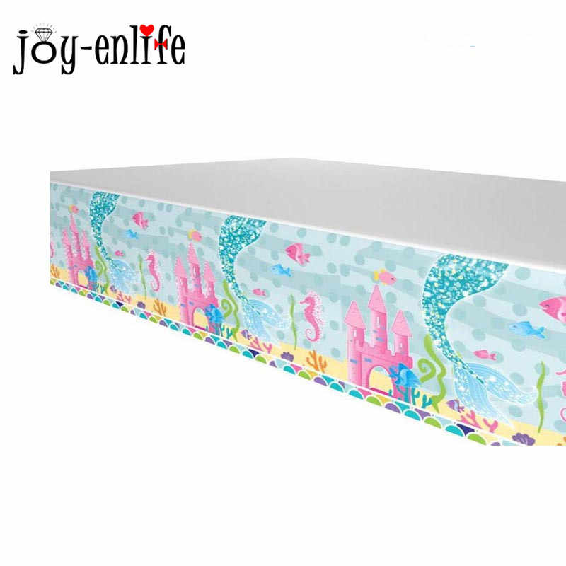 JOY-ENLIFE 1pcs Mermaid Party Underwater World Tablecloths Happy Birthday Party Decor Table Cover Baby Shower Party Supplies