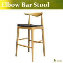 Free shipping U-BEST ELBOW BAR STOOL STYLE CH20,leather pad wood barstool ,western-inspired kitchen or bar  stool