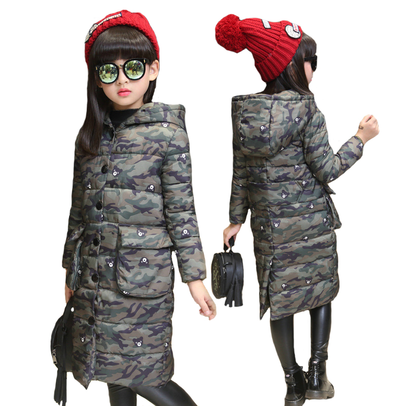 Fashion 2018 Camouflage Winter Girl Jacket Windbreaker Children Outerwear Kids Cotton Padded Hooded Jackets For Girls Coat Parka teenage girls winter jackets children warming long camouflage coat outwears cotton padded hoode thick camouflage coat y846