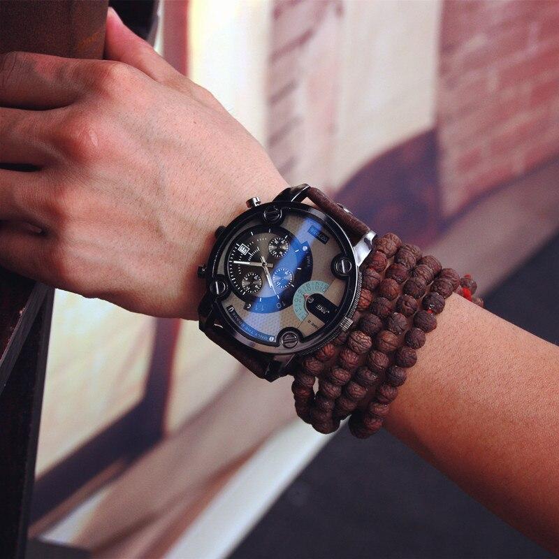 Prix pour Jis montre Bleu En Verre Grand Cadran Noir En Cuir Quartz Hommes Montres Mode & Casual Montre Sport Out Porte Militaire Montre-Bracelet relojio