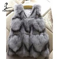 FURSARCAR Winter Gray Real Fox Fur Vest Women Fashion Autumn Sleeveless Coat Fur Genuine Leather Real Fur Outwear Cardigan Coat