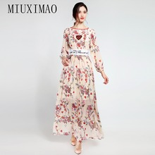 2018 Spring Latest Fashion A-Line O-Neck Full Sleeve Elegant Sequined Floral Print Casual Style Ankle-Length Long Dress Women