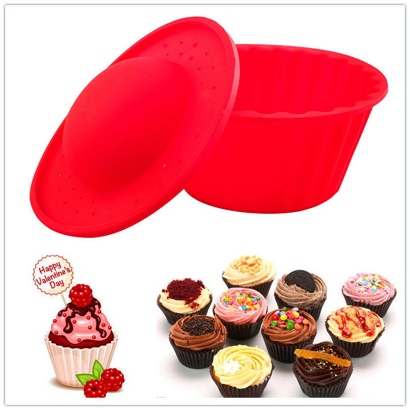 New !! Red Silicone Giant Cupcake Muffin Mould Big top bake cake Xmas party Baking Set Muffin Mould hot sale 8 cups round shape silicone baking pan pudding muffin donut mould
