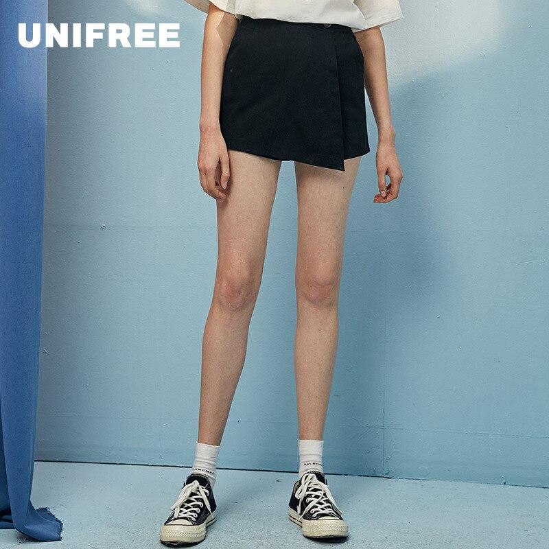 UNIFREE 2019 Summer New Arrival Shorts Women Black Top Fashion Pure Colour High-waist Pants Skirt Slim Short Femme U192Q012BV