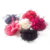 High End Elegant Women Pillbox Sinamay Fascinator Hat Wedding Feather Hair Clip Girls Party Fascinator Ladies Derby Headdress