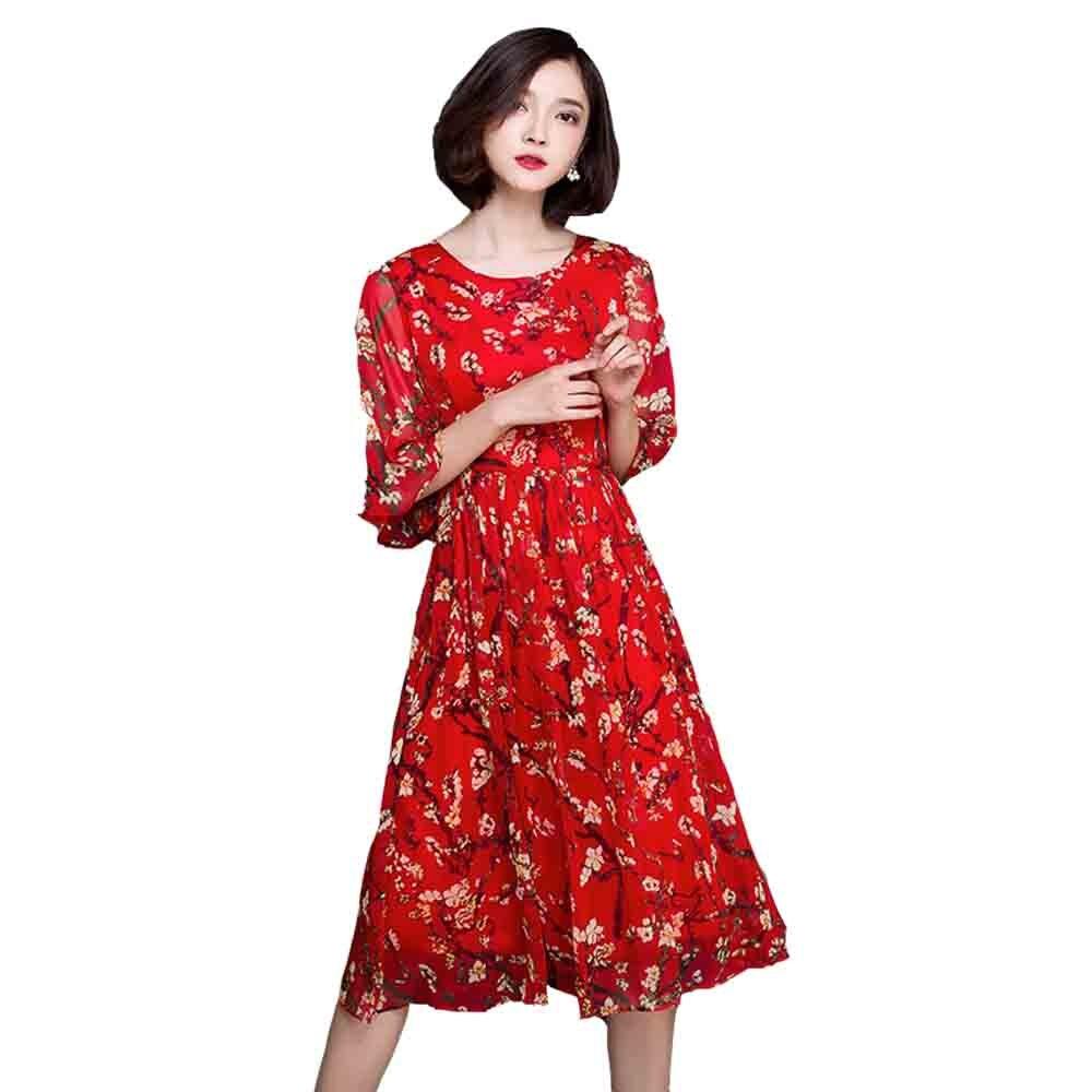 Adogirl 2016 Fashion Women Summer Dress Red Floral Midi Dress Flare Sleeve Knee Length Vestidos