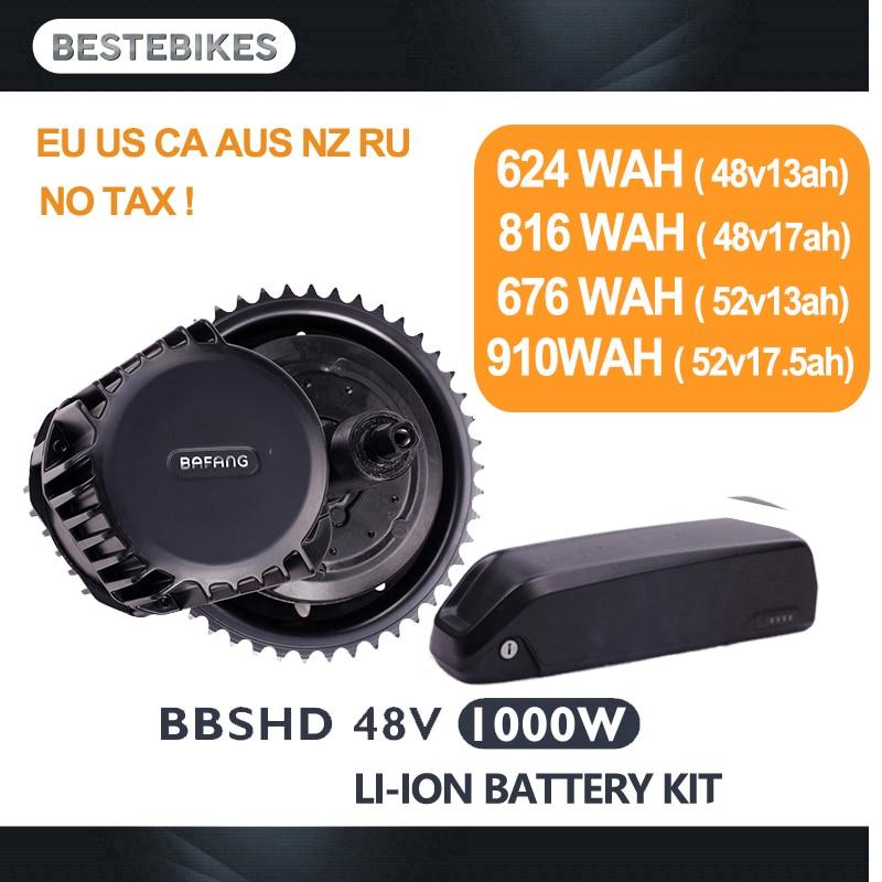 Bafang BBSHD 48V1000w motore elettrico kit bbs03 batteria velo electrique bicicleta electrica 52V17. 5ah EU/US NESSUNA Tassa