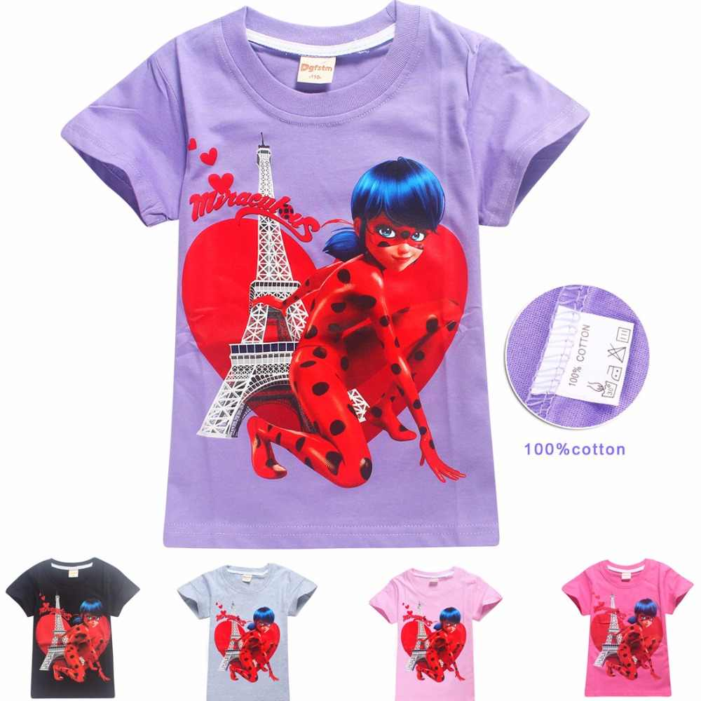 ab0456ca09a0f Girls Cosplay Party Lady Bug Cotton T-shirts For Kids Gift Ladybug Cartoon  Tee