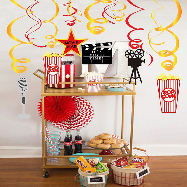 30 Pcs Set Hollywood Movie Theme Hanging Swirl Birthday