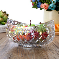 Delicate Crystal Glass Stamped Fruit Bowl Decorative Boat Serving Bowl Sweet Box Household Daily Use Tableware Ornament Craft