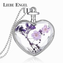 LIEBE ENGEL Newest Sterling Silver Jewelry Vintage Glass Collares Dry Flower Statement Necklace for Women Christmas Gift 2017