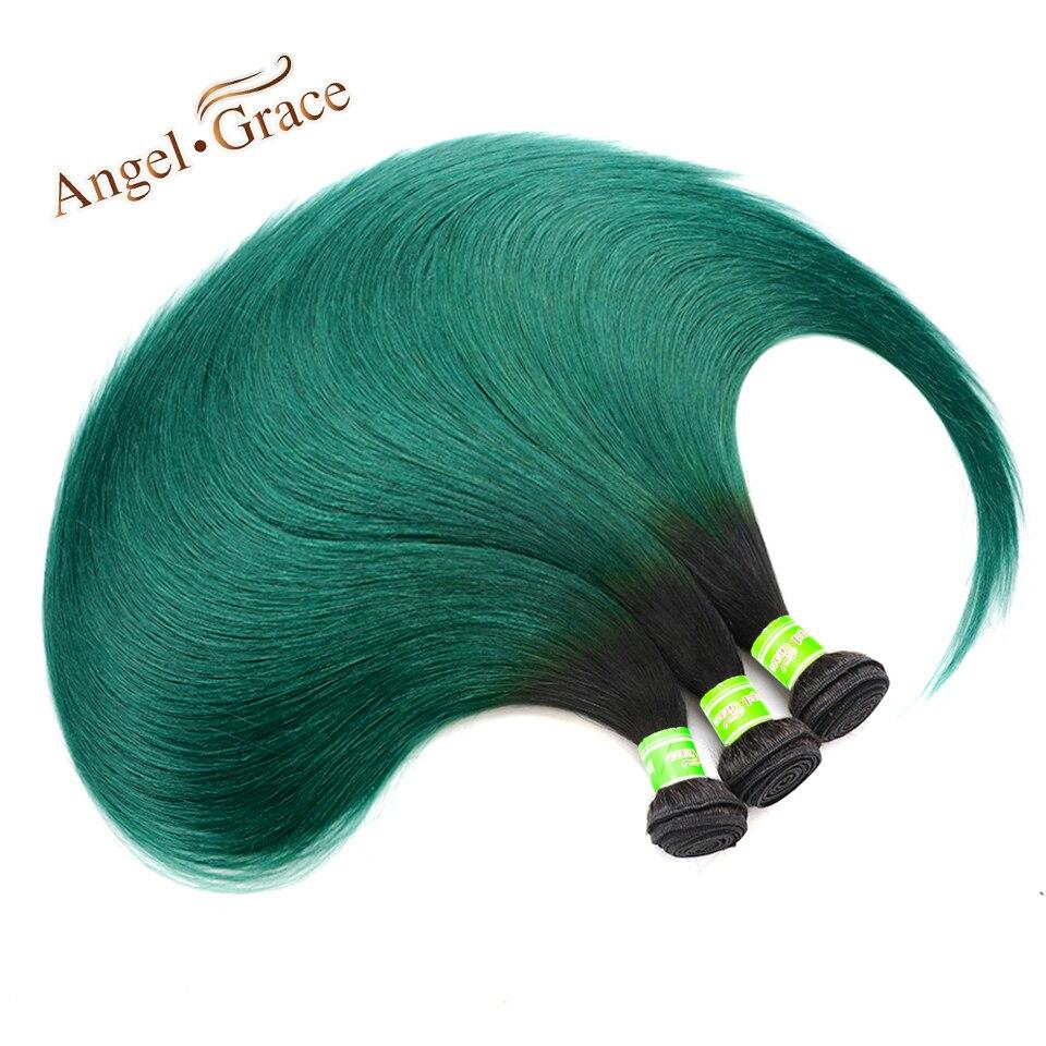 Ange Grâce Cheveux Brésiliens Cheveux Raides 3 Bundles Two Tone 1B/Vert Ombre Faisceaux de Cheveux Remy Extensions de Cheveux Humains livraison Gratuite