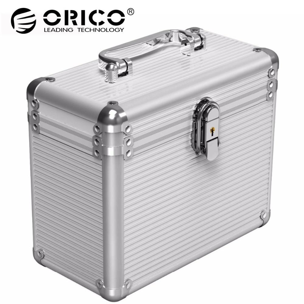 ORICO aluminum 5 & 10 bays дюймов 3,5 дюймов жесткий диск защитный ящик для хранения с блокировкой (не включая HDD)-серебро