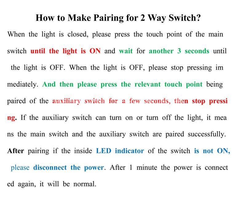 2 Way Switch Pairing