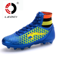 LEOCI Boys Kids Men font b Soccer b font Cleats High Ankle Football Shoes FG font