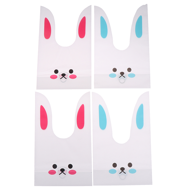 50pcs Cute Long Bunny Rabbit Ears Gift Bag Easter Candy Gift Set Plastic Party Favors Cookie Snack Birthday Decoration Kids Gift(China)