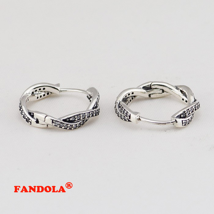 Authentic 925 Sterling Silver Earring with Clear Cubic Zirconia Hoop Earrings for Women Compatible With European Jewelry FLE036