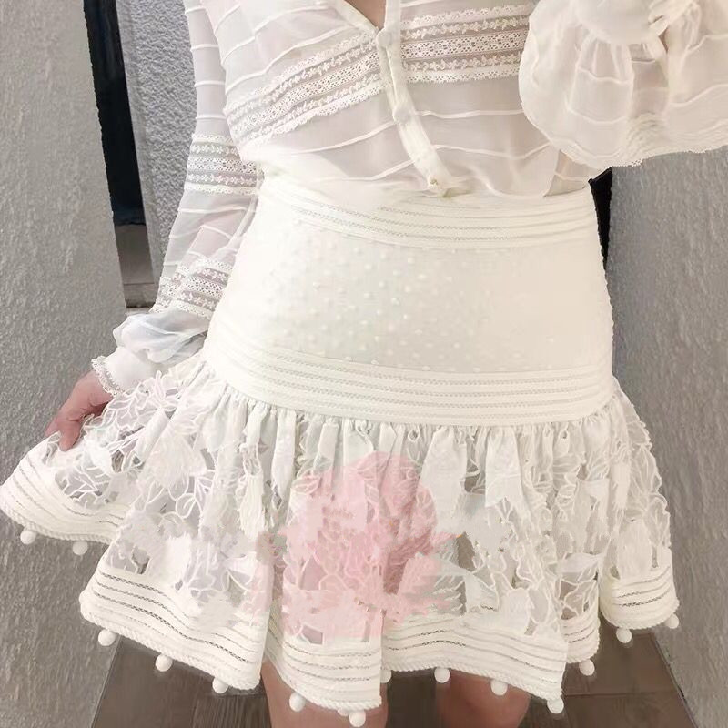 Lace Patchwork Fleeting Pintuck Blouse Top With Lace Trim Matching Camisole Corsage Embellished Floral Embroidery Mini