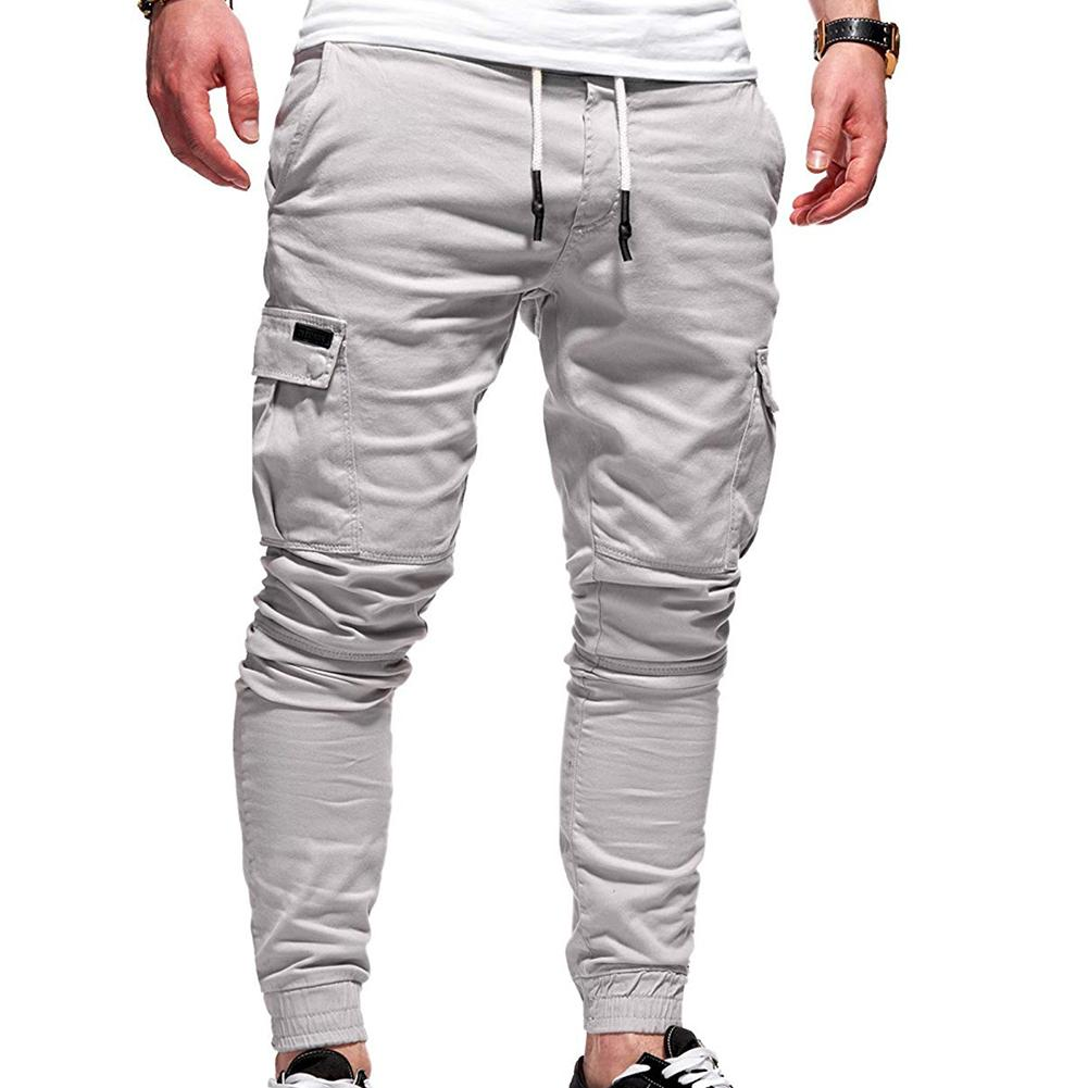 Casual Men Solid Color Multi Pocket Drawstring Ankle Tie Cargo Pants Trousers Fashion