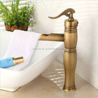 Free Shipping Euro Style Antique Brass Faucet Tall Bathroom Faucets Brass Finish Washbasin Taps ZR166