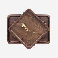 Japanese Wooden Pallet Fruit Dish High Quality Black Walnut Tea Tray Rectangular Dinner Plate Dim Sum