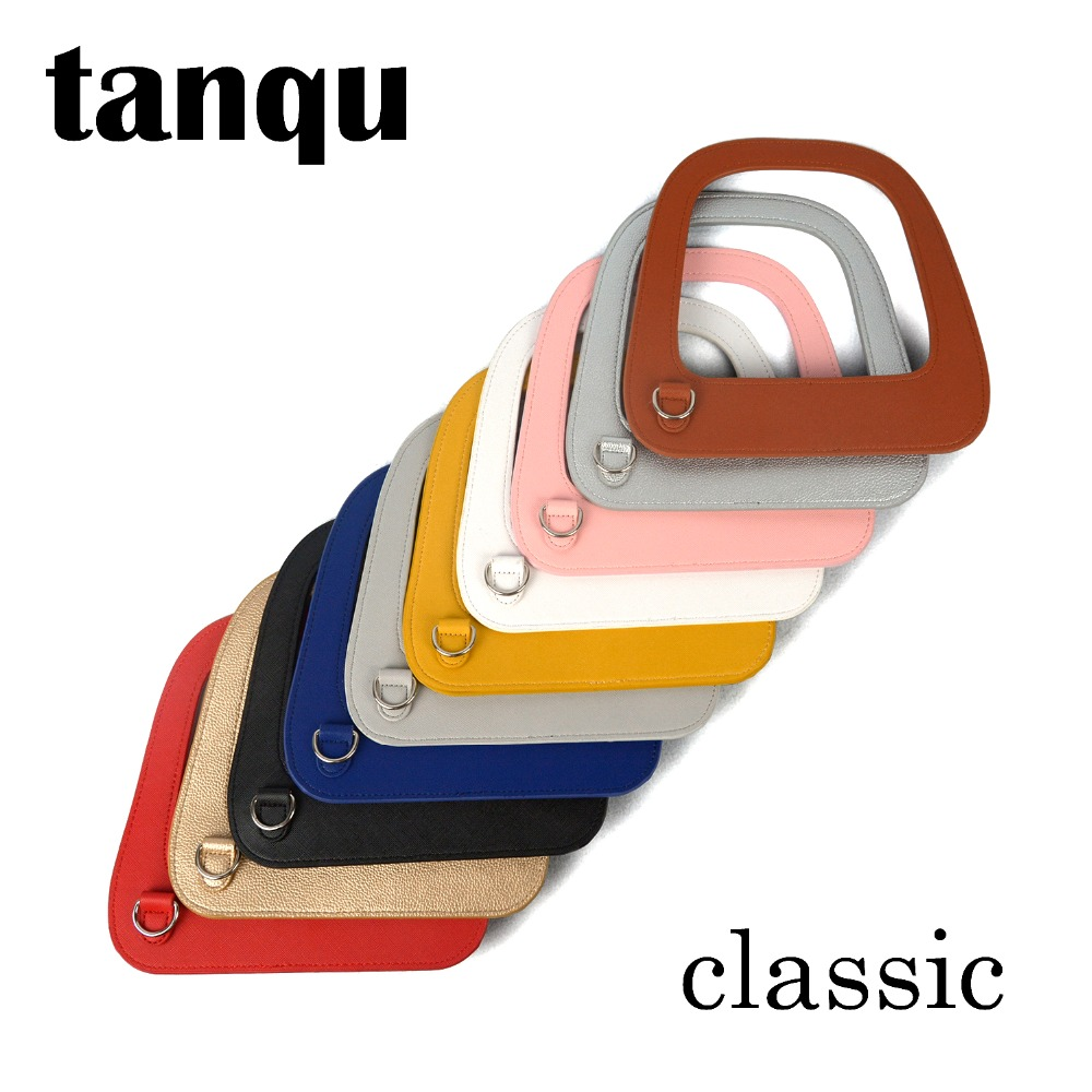 tanqu New big Oblong Faux PU Leather Handle with Silver D buckle for standard Obag Classic Bag Body Big O Bag Accessory