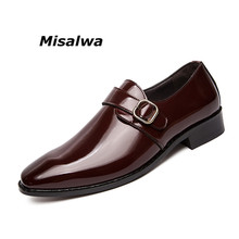 Misalwa Big Size 38-47 Leather Men Classic Shoes Square Toe Buckle Luxury Dress Male Stylish Red Formal Business Footwear