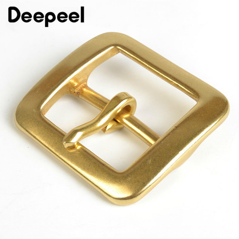 Deepeel 1Pc 40mm Men Belt Buckle Snap Solid Brass Metal Pin Buckle For Belt 37-38mm Waistband Belt Head DIY Jeans Accessories