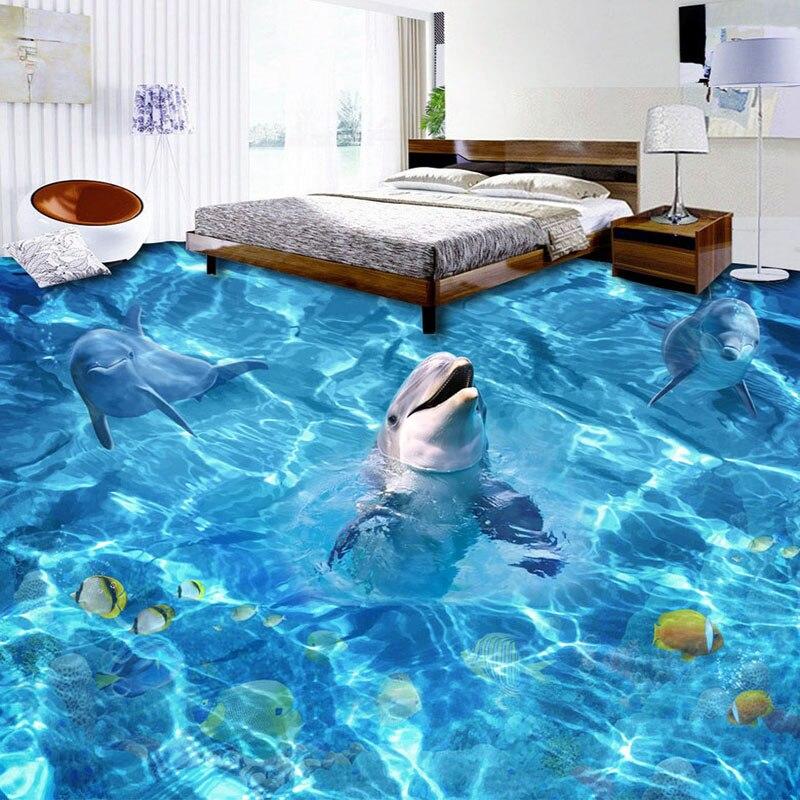 Custom 3d stereo dolphin floor tiles mural wallpaper for Dolphin tile mural